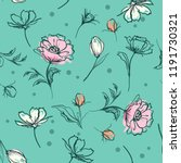 sweet pastel  botanical flowers ... | Shutterstock .eps vector #1191730321