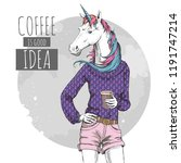 retro hipster fashion fantasy... | Shutterstock .eps vector #1191747214