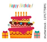 greeting card with sweet cake... | Shutterstock . vector #1191775891