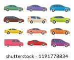 set of twelve multicolored cars ... | Shutterstock . vector #1191778834
