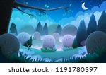 landscape of a graveyard with... | Shutterstock .eps vector #1191780397