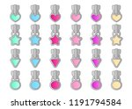 set of vector cute little locks ... | Shutterstock .eps vector #1191794584