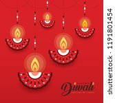 hanging diya  india oil lamp ... | Shutterstock .eps vector #1191801454