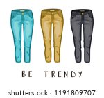 pair of jeans. be trendy.  | Shutterstock .eps vector #1191809707