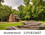 an old log and stone cabin in... | Shutterstock . vector #1191813607