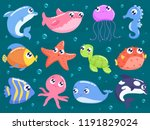 cute sea animals set | Shutterstock .eps vector #1191829024