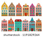 set of european colorful old... | Shutterstock .eps vector #1191829264