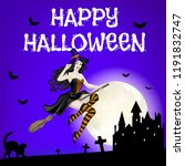 happy halloween card with... | Shutterstock .eps vector #1191832747