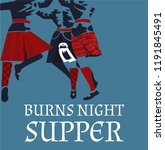 burns night supper card with... | Shutterstock .eps vector #1191845491