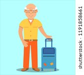 elderly male tourist suitcase...   Shutterstock .eps vector #1191858661