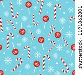 christmas candy pattern on blue ... | Shutterstock .eps vector #1191862801