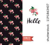 floral greeting card with roses.... | Shutterstock .eps vector #1191863407