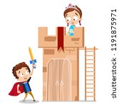 funny boy and girl playing in...   Shutterstock .eps vector #1191875971