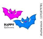 halloween. vector bat. vector... | Shutterstock .eps vector #1191879781