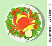 big red crab on white plate... | Shutterstock .eps vector #1191886444