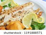 fried white fish fillet...   Shutterstock . vector #1191888571