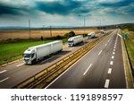 caravan or convoy of white... | Shutterstock . vector #1191898597