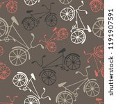 hand drawn bicycles on brown... | Shutterstock .eps vector #1191907591