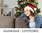melancholic pensive woman in... | Shutterstock . vector #1191922801