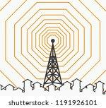 silhouette of tower transmitter | Shutterstock .eps vector #1191926101