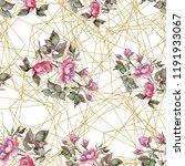 watercolor pink bouquet peony... | Shutterstock . vector #1191933067