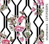 watercolor pink bouquet peony...   Shutterstock . vector #1191933091