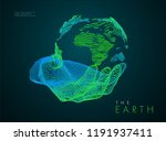 earth in hand. vector drawn by... | Shutterstock .eps vector #1191937411