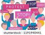 croud protest. people with...   Shutterstock .eps vector #1191940441