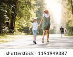 sister and brother are running... | Shutterstock . vector #1191949387