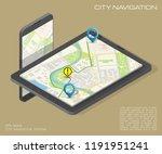 city map route navigation... | Shutterstock .eps vector #1191951241