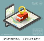 city map navigation route ... | Shutterstock .eps vector #1191951244
