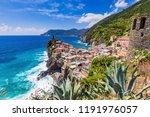 vernazza village and coast line.... | Shutterstock . vector #1191976057