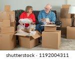 senior adult couple packing or... | Shutterstock . vector #1192004311