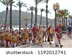Small photo of Cartagena, Murcia Region, Spain - 09/28/2018. A annual festival in Cartagena is that of the Cartaginians and Romans. Some of the Romans invading by sea march inland to join more of the Roman forces.
