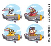characters flying with an... | Shutterstock .eps vector #1192028311