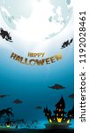 halloween night background with ... | Shutterstock .eps vector #1192028461