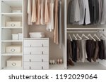 modern closet with clothes... | Shutterstock . vector #1192029064