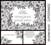romantic wedding invitation... | Shutterstock . vector #1192056601