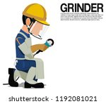 isolated grinder with ppe on... | Shutterstock .eps vector #1192081021
