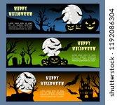 halloween banners leaflets blue ... | Shutterstock .eps vector #1192086304