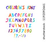 full set of comic font. vector. ... | Shutterstock .eps vector #1192092661