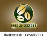 golden emblem with coffee bean ...   Shutterstock .eps vector #1192093441