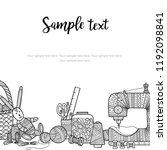 vector card needlework theme... | Shutterstock .eps vector #1192098841