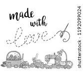 vector card needlework theme... | Shutterstock .eps vector #1192099024