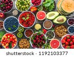 healthy food on table.... | Shutterstock . vector #1192103377