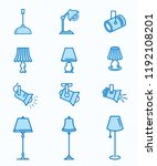 lighting flat line icons. thin... | Shutterstock .eps vector #1192108201