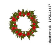 christmas wreath with holly.... | Shutterstock .eps vector #1192116667