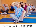 group doing stretching... | Shutterstock . vector #119211757