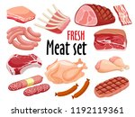 meat icon set vector fresh meat ... | Shutterstock .eps vector #1192119361