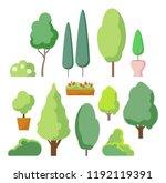 cartoon bush and tree set.... | Shutterstock .eps vector #1192119391